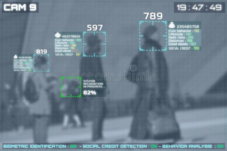 Screen of cctv cameras with facial recognition and social