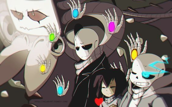ARTIST WHO ARE YOU?? Looks like fan art of Camila Cueves's animated Chara battle Undertale Omega Flowey Gaster Frisk Sans