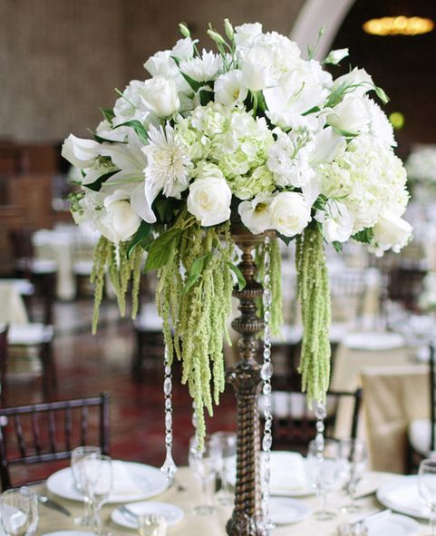 Photographer: The Grovers; Elegant green and white flower wedding reception centerpiece;