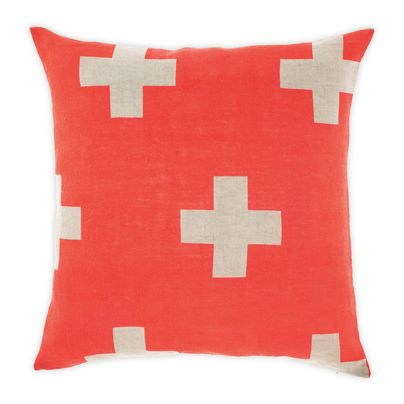 Crosses cushion in Neon Coral 50cm