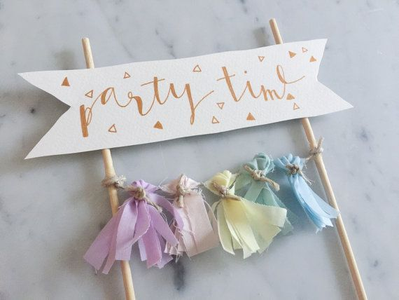 Cake Topper / Rose Gold Modern Calligraphy / by LittleConfettiLove