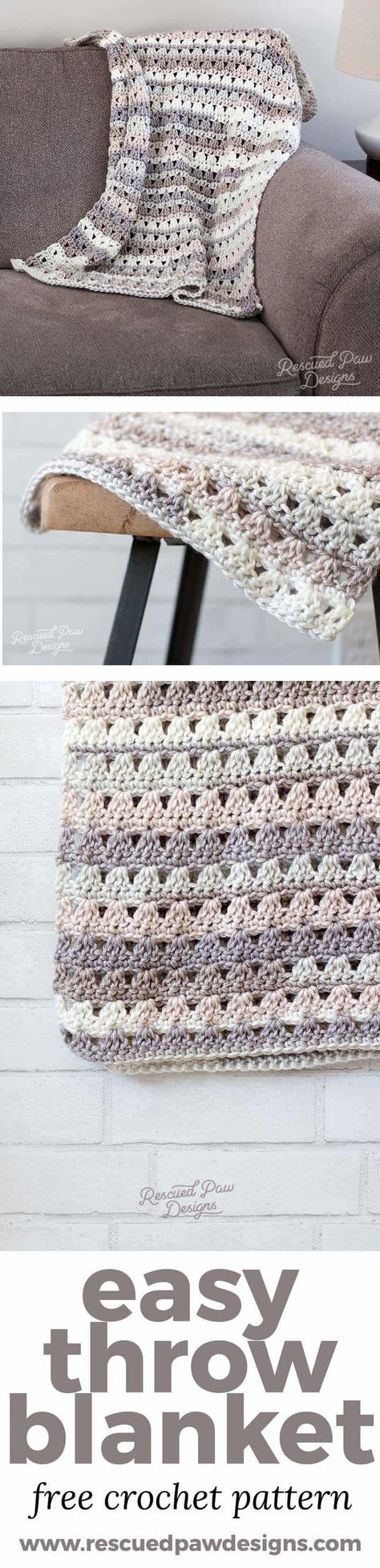 This easy crochet throw is the perfect throw to work up on a weekend crochet marathon. This design involves repeats along with some simple stitches to make for an easy quick and easy crochet throw! Make this simple crochet blanket today with this free pattern from Rescued Paw Designs via @rescuedpaw
