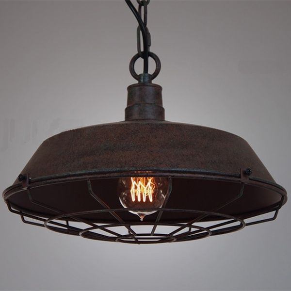 Vintage Cage Metal Pendant Light Fixture Retro Bar Dining Room