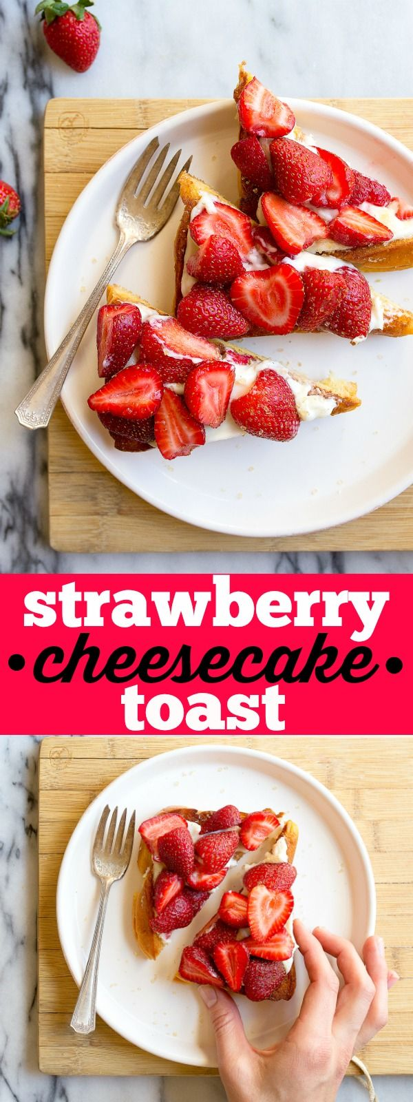 New fancy toast trend: cheesecake on toast! Strawberry cheesecake toast! Easy breakfast or fruity snack.