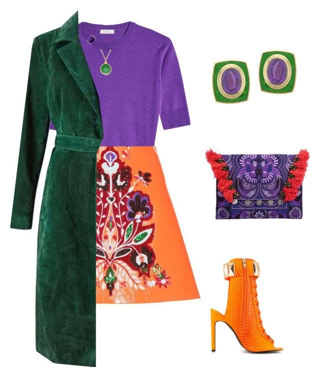 colourful autumn coctail outfit by justyna-kowalcze on Polyvore featuring moda, Nina Ricci, Miss Selfridge, Miu Miu, Privileged, De Vroomen and BillyTheTree