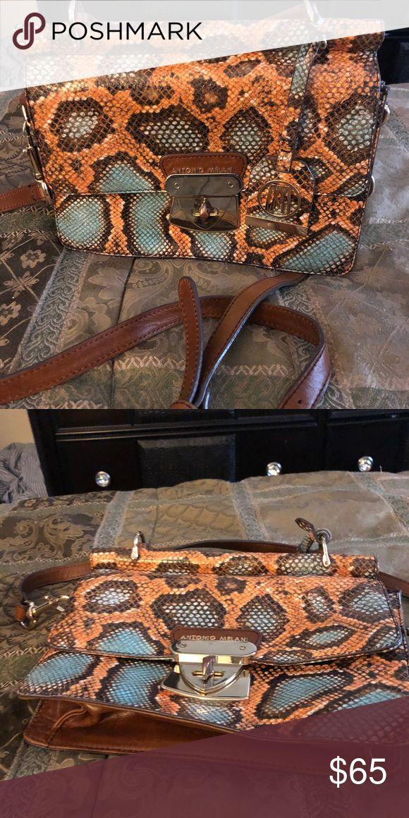 Antonio Melani snake skin purse snake skin with handles and detachable stap ANTONIO MELANI Bags Crossbody Bags