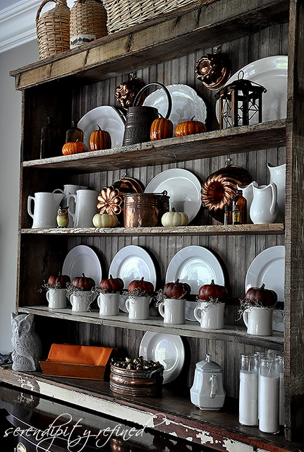 i need to change up my hutch. Fall Hutch, decorating by Serendipity Refined