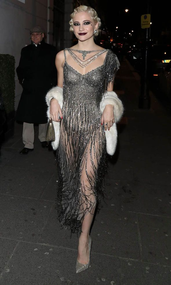 Pixie Lott spotted on her birthday in galia lahav gown