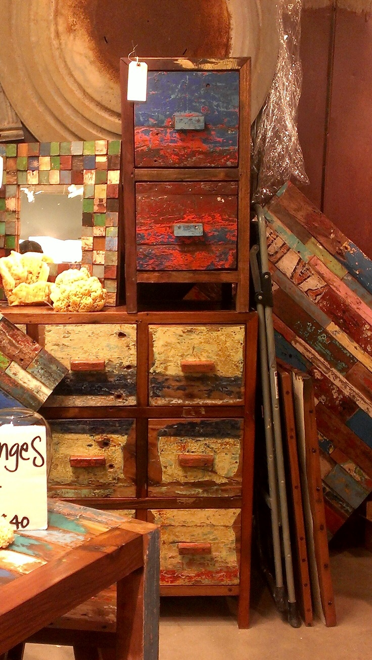 These Reclaimed Wood Pieces Are A Great Way To Add Color To Your Space! # ·  Wood PiecesHouston TxPaint Furniture