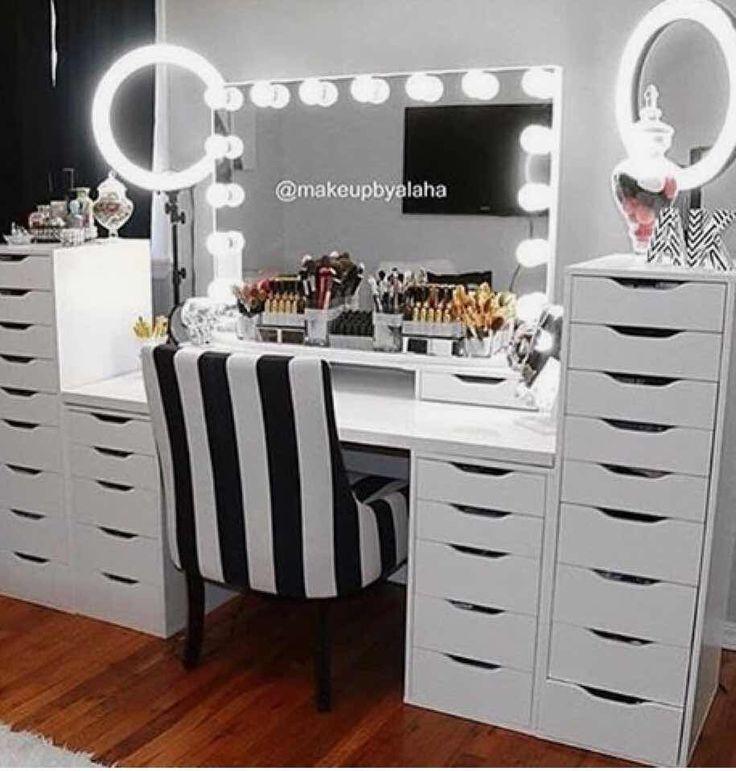 31 Fascinantes Tocadores Con Espejo De Luces Que Te Encantaran Maquillaje Makeup Diy Vanity Storage Ikea Makeup Vanity Diy Vanity Mirror