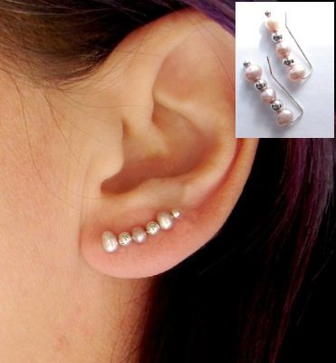 Diy earing, just cut a boby pin adn add the beads or dimonds (: Brilliant!