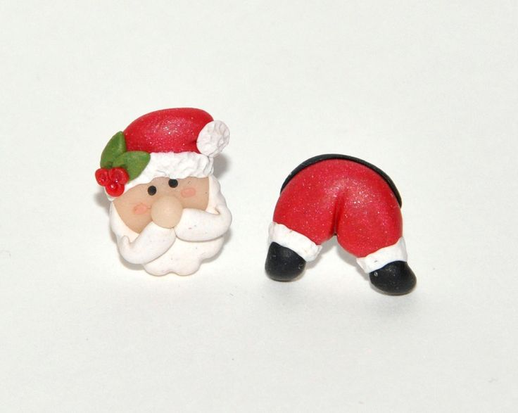 Santa Stud Earrings - Funny Festive jewelry for a Naughty Christmas - Available for sensitive ears too! by AColorfulMind on Etsy