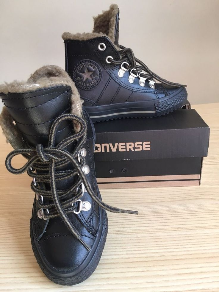Boys Converse All Stars Leather high top Winter Boot Black Size Toddler 10.5 #Converse #Boots