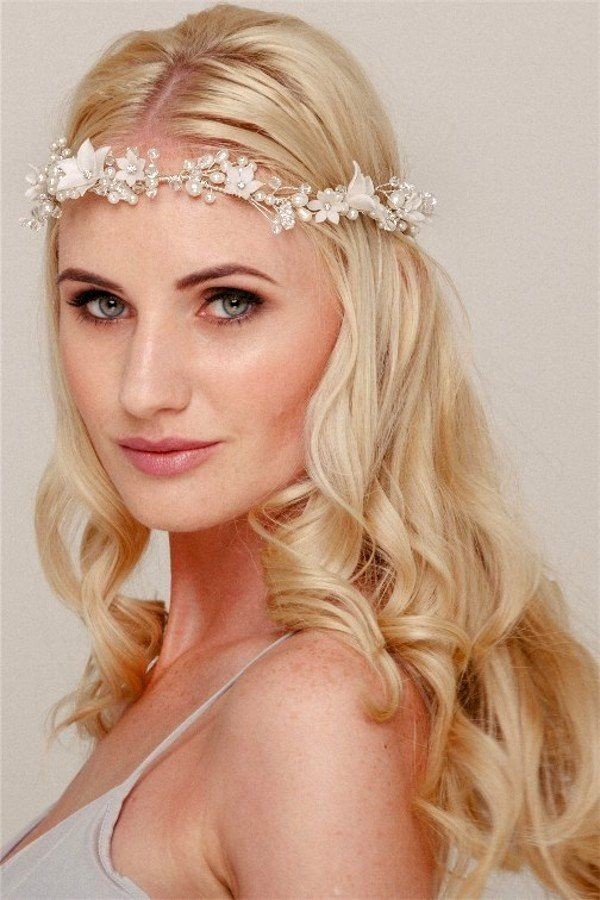 Bridal Flower Crown Halo Headpiece with Swarovski Crystals and Freshwater Pearls in Silver or Gold – Helen Irene Handmade