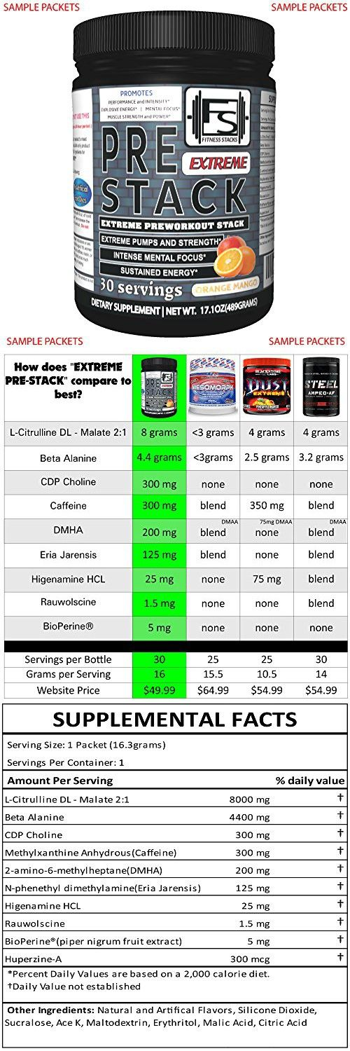 Extreme PreStack Pre Workout Supplement (PACKETS) High