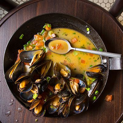 PBR Steamed Mussels with Tasso and Spring Onions | Recipe