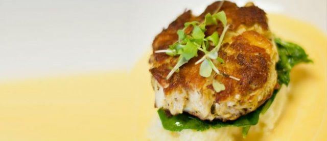 Crab Cakes on Ginger-scallion Aioli with Cucumber-Carrot Namasu ...
