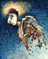 Aftermath Angel.  Original art by Amy Ferrari.   Acrylic on Canvas.