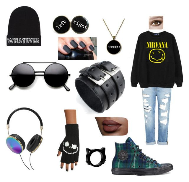 """""""90's Inspired Grunge Look ^_^"""" by cielwright ❤ liked on Polyvore featuring Genetic Denim, Chicnova Fashion, Local Heroes, Frends, Converse, life, nirvana and grunge"""