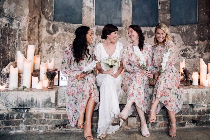 Maids wear vintage inspired floral gowns. Images by Becky Lee Photography