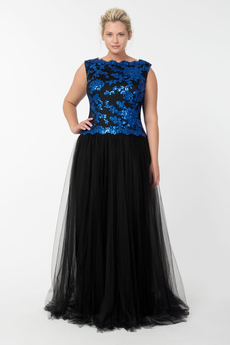 Tulle and Embroidered Lace Ball Gown in Sapphire / Black | Tadashi Shoji Fall / Holiday Plus Size Collection