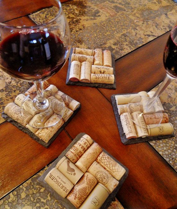 Slate Wine Cork Coasters Set of 2 by ScatteredTreasures on Etsy, $15.00    Wouldn't you love these on your table?