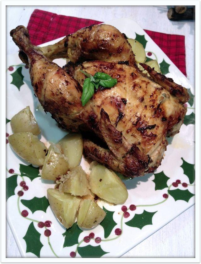 Pollo al horno con mostaza, ajo y albahaca