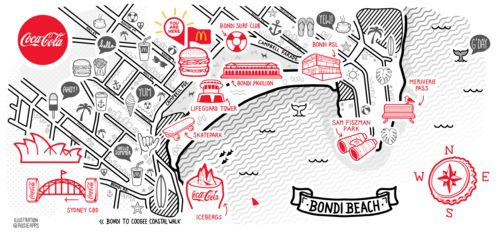 Bondi Beach map illustration. Installation in McDonalds and commissioned by Coca Cola,, Sydney, Australia by Rosie Apps illustration     www.rosieapps.com