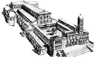 Basilica di San Pietro in Vaticano; edificata nel luogo di sepoltura dell'apostolo Pietro; completata nel 329 d.C.  L'edificio era diviso internamente da 5 navate. Un transetto precedeva l'abside. , la tomba di San Pietro era ospitata nel transetto, protetta da un baldacchino. Fu distrutta nel XVI secolo per fare spazio all'attuale basilica di San Pietro.