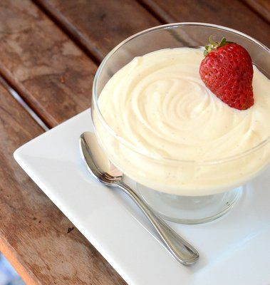The mousse is very easy to make and just has three ingredients: white chocolate, heavy cream and vanilla.