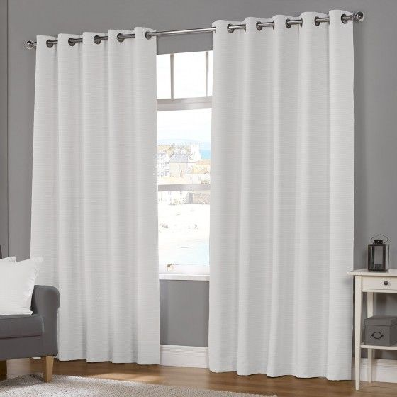 Naples White Luxury Lined Eyelet Curtains (Pair)