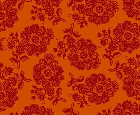 Pom Pom Paisley </br> Bright Magenta on Orange