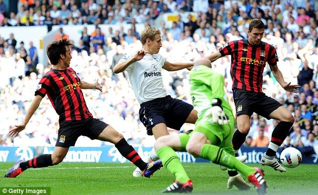 Tottenham 1 Man City 5 in Aug 2011 at White Hart Lane. Edin Dzeko completes his hat-trick after 55 minutes to make it 3-0 #Prem