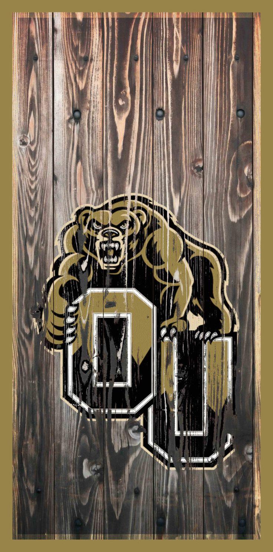 Oakland University Golden Grizzly by IconsInWood on Etsy