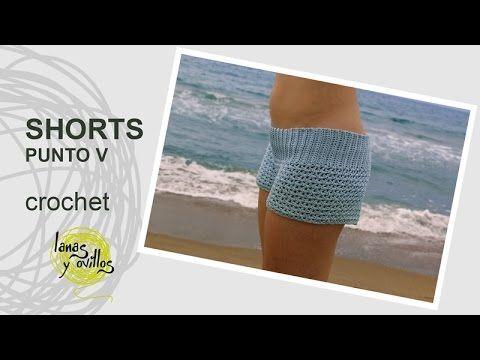 Tutorial Shorts Crochet o Ganchillo en Punto V (Uve)