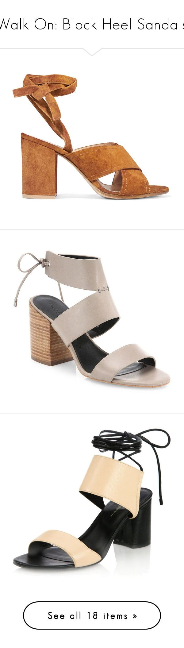 """""""Walk On: Block Heel Sandals"""" by polyvore-editorial ❤ liked on Polyvore featuring blockheelsandals, shoes, sandals, heels, brown, chunky heel sandals, ankle tie sandals, brown heeled sandals, ankle strap shoes and strappy sandals"""