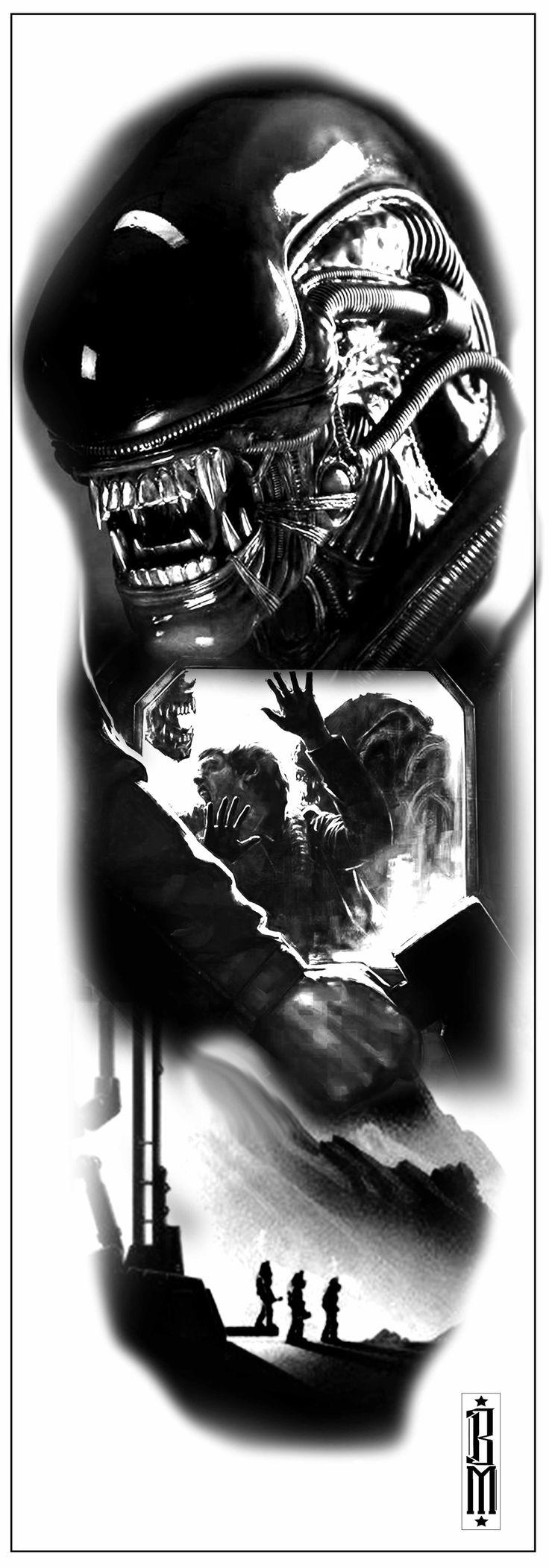 alien tattoo sleeve aliens film movie black and grey tattoo design ALIEn  space  cosmos