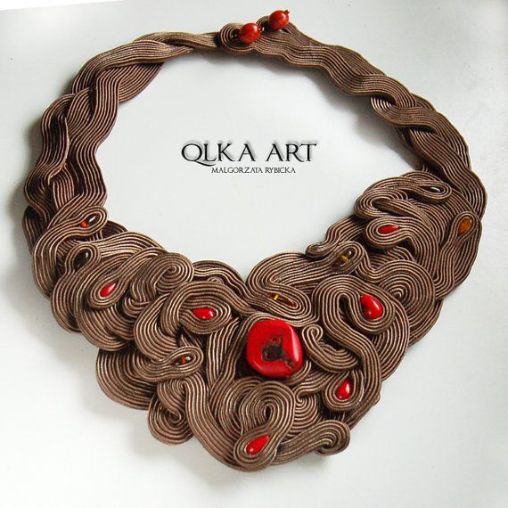 Zabajone Soutache Necklace with Coral and Amber by QlkaArt on Etsy, zł630.00