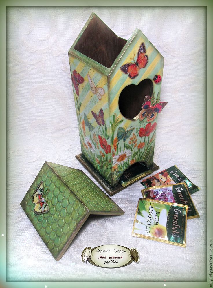 "Чайный домик ""Лето"" - зеленый, чайный домик, чайный домик декупаж, чайная коробка  Tea houses and boxes handmade"