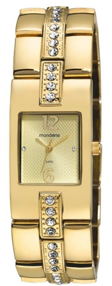 62008LPMNDM1  Relógio Feminino Dourado com Strass Mondaine