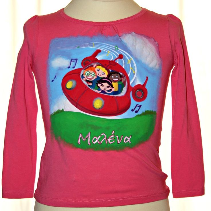 Hand painted girl's t shirt, featuring Little Einsteins. A girl's name (Malena) is written in Greek. The colors are non-toxic, water based, permanent fabric colors.