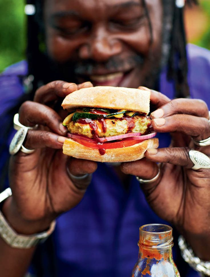 Levi Roots' Calypso Chicken Burgers. A brilliant barbecue recipe, perfect for summer evenings.