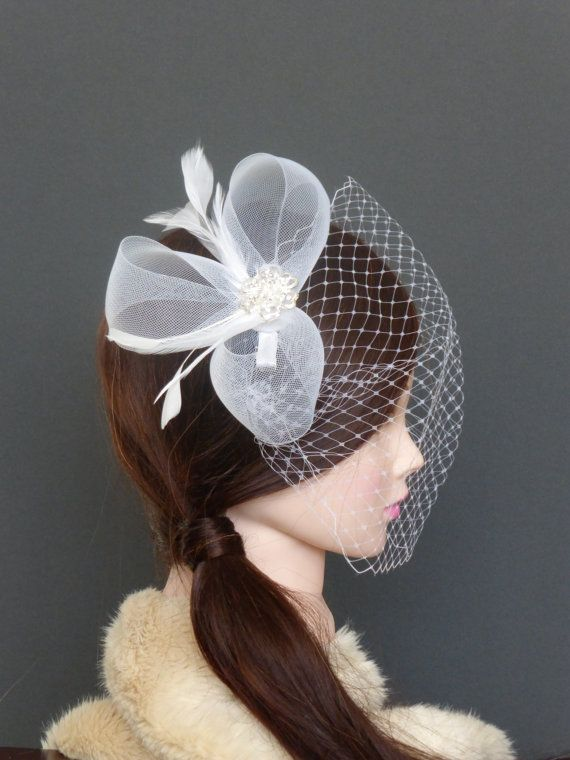 White Bridal Veil Crinoline Fascinator With Feathers Wedding Hairpiece Crystal READY TO SHIP Actual Product