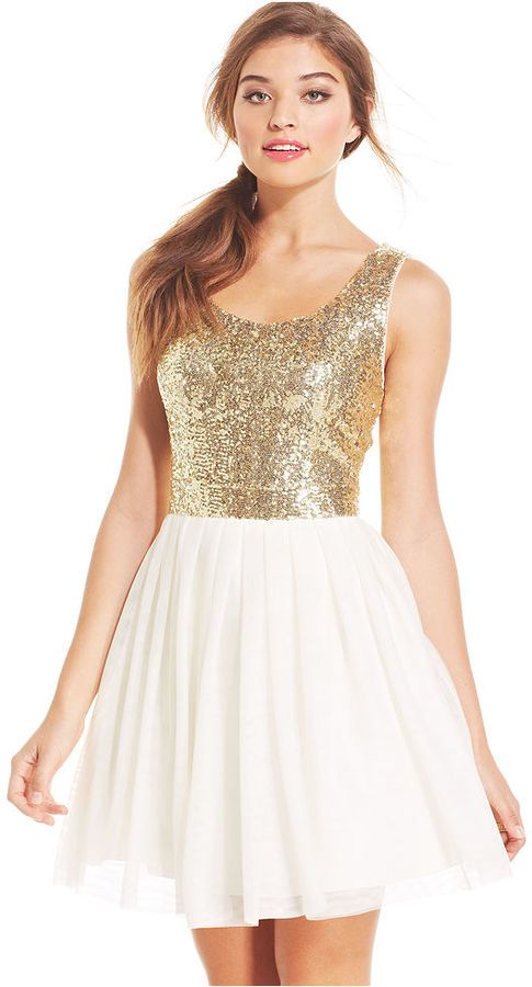 B Darlin Juniors Sequin Pleated A-Line Dress is on sale now for - 25 % !