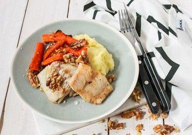Stekt kolja med potatismos & ugnsbakade morötter med valnötter