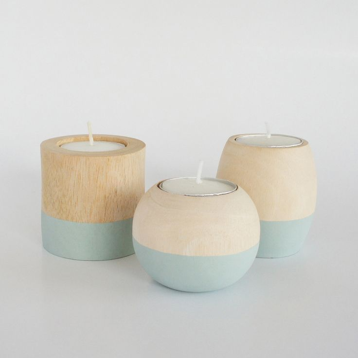 Set de 3 porta-velas Mini Bougie Round + Oval + Cylindre. Set de 3 Porta velas de madera pulida y pintada a mano. Incluye velita. Preciosos, ¡escoge tu color!