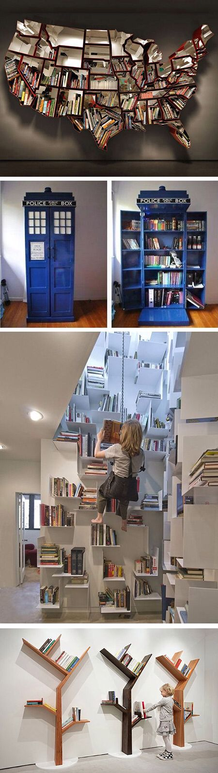Unique bookcase -- I love the rock-climbing case!!