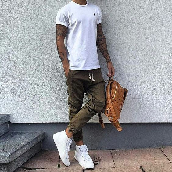 White Sneakers with Jogger pants outfit⋆ Men's Fashion Blog - TheUnstitchd.com
