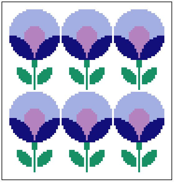 Round retro lavander and blue flowers. Modern cross stitch chart. Contemporary pattern.