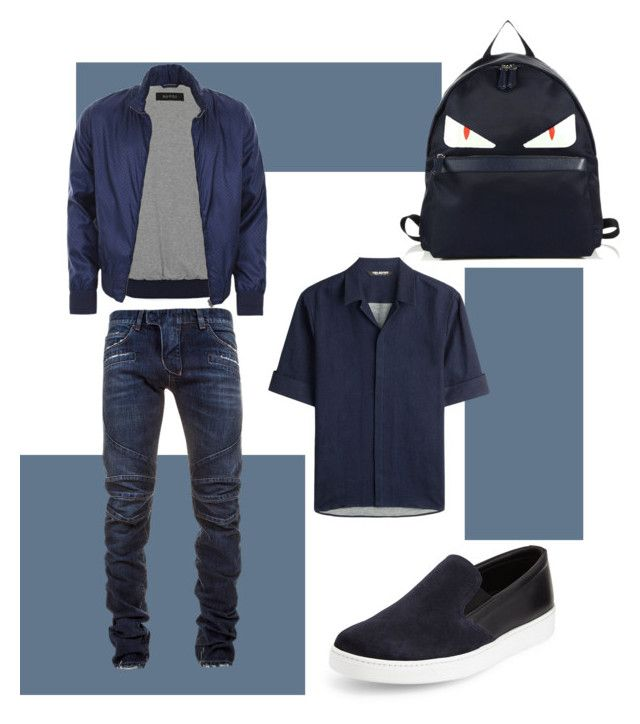 """❌"" by toysun on Polyvore featuring Prada, Gucci, Neil Barrett, Balmain, Fendi, men's fashion и menswear"